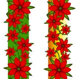 Xmas Poinsettia Page Borders. A clip art illustration of your choice of 2 poinsettia page borders featuring bright blooming flowers and green leaves Royalty Free Stock Photos