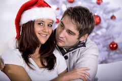 Xmas portrait of a couple Stock Images