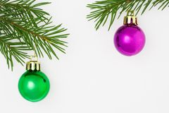 Xmas postcard 12. Christmas postcard with green and purple balls. White background. 12 stock image
