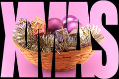 Xmas Poster with basket on pink Stock Photography