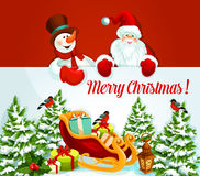 Xmas poster with Santa and snowman showing banner Royalty Free Stock Photography