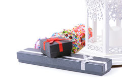 Xmas present boxes and lantern Stock Photo