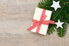 Xmas present and fir Royalty Free Stock Photo