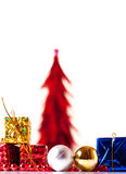 Xmas presents and xmas tree Royalty Free Stock Images