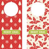 Xmas Printable Doorknob Hangers. Set of 2 doorknob hangers with Christmas patterns. They read Merry Xmas Stock Image