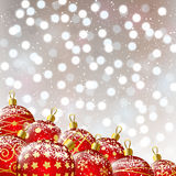Xmas red balls on bokeh background Stock Image