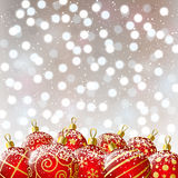Xmas red balls on bokeh background Royalty Free Stock Photos