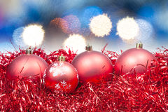 Xmas red balls on soft blue background Stock Images