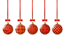 Xmas red balls on white Royalty Free Stock Photography