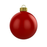 Xmas red bauble. 3d render of shiny red xmas bauble on white background Stock Illustration