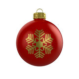 Xmas red bauble with snowflake. 3d render of shiny red xmas bauble with snowflake on white background Royalty Free Stock Photography