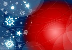 Xmas red and blue background. With stars and snowflakes Stock Photos