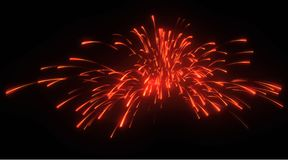 Xmas: red festive fireworks at night. Over black Royalty Free Stock Photos
