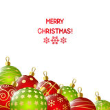 Xmas red and green balls on white Royalty Free Stock Photos