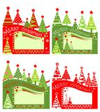 Xmas red green tags for Christmas sale with cut out paper abstract firs. Flat design. Xmas red and green tags for Christmas sale with cut out paper abstract firs vector illustration