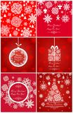 Xmas red greetings with snowflakes Royalty Free Stock Photo