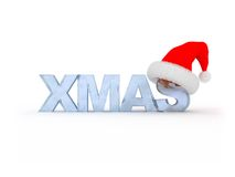 Xmas in red hat Royalty Free Stock Photo