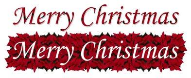 Xmas red poinsettia. Illustration of the inscription made of merry christmas poinsettia stock illustration