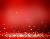 Xmas red room decoration golden glitter. Brilliant dust on floor. Festive empty background. 3d illustration. Sparks falls. Stylish image for a variety of design Stock Photo