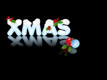 Xmas Reflection. Icey Christmas message over black background Royalty Free Stock Photography