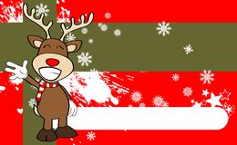 Xmas reindeer cartoon expression background2 Royalty Free Stock Images