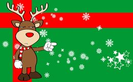 Xmas reindeer cartoon expression background3 Stock Photo