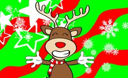 Xmas reindeer cartoon expression background5 Stock Photos