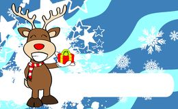 Xmas reindeer cartoon expression background9 Royalty Free Stock Image