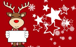 Xmas reindeer cartoon expression background0 Royalty Free Stock Images