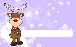 Xmas reindeer cartoon expression background01 Stock Photography