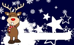 Xmas reindeer cartoon expression background02 Stock Images