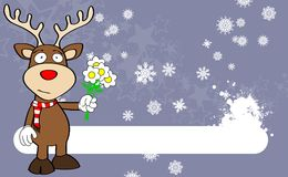Xmas reindeer cartoon expression background03 Royalty Free Stock Image