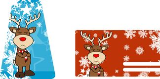 Xmas reindeer cartoon giftcard04 Stock Photos