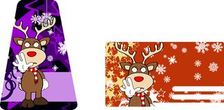 Xmas reindeer cartoon giftcard03 Royalty Free Stock Photography