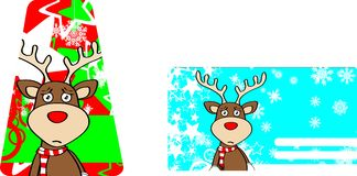 Xmas reindeer cartoon giftcard02 Royalty Free Stock Photos