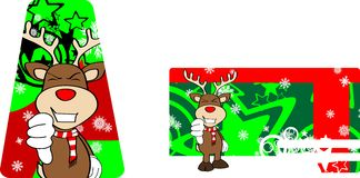 Xmas reindeer cartoon giftcard01 Royalty Free Stock Images