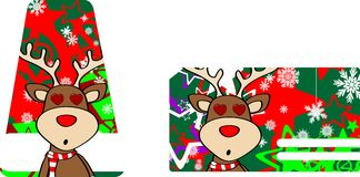 Xmas reindeer cartoon giftcard0 Stock Photos