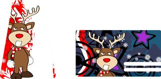 Xmas reindeer cartoon giftcard9 Royalty Free Stock Photo