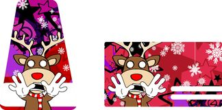 Xmas reindeer cartoon giftcard8 Royalty Free Stock Photography