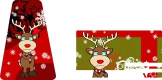 Xmas reindeer cartoon giftcard7 Stock Images