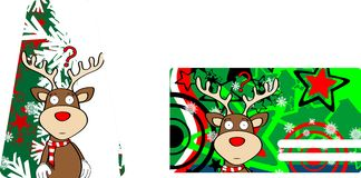 Xmas reindeer cartoon giftcard6 Royalty Free Stock Image