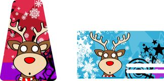 Xmas reindeer cartoon giftcard4 Royalty Free Stock Image