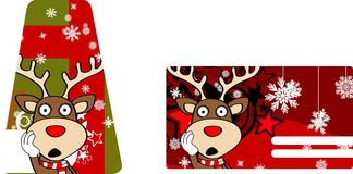 Xmas reindeer cartoon giftcard3 Royalty Free Stock Images