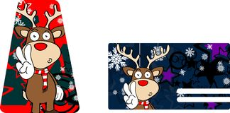 Xmas reindeer cartoon giftcard1 Royalty Free Stock Images