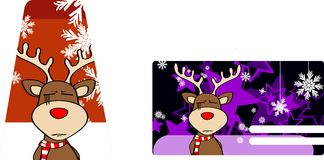 Xmas reindeer cartoon giftcard Stock Photos