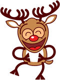 Xmas reindeer laughing enthusiastically Royalty Free Stock Photos