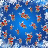 Xmas reindeers blue cute background Royalty Free Stock Images