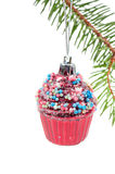 Xmas retro tree cupcake toy Stock Images
