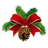 Xmas ribbon. Christmas pine twigs with red ribbon and pine cone. Vector Illustration Royalty Free Stock Images