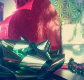 Xmas ribbon decoration Stock Photo